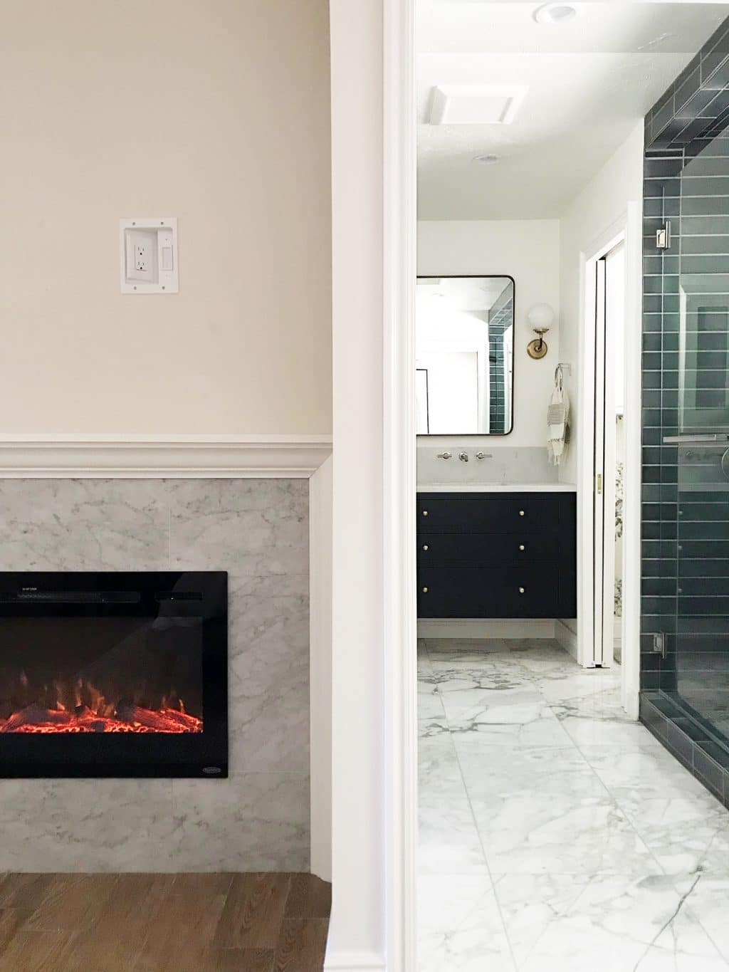 We Decided To Add A Built In Electric Fireplace An Awkward Nook Our Bedroom And It S Something You Can Just About Anywhere Weekend