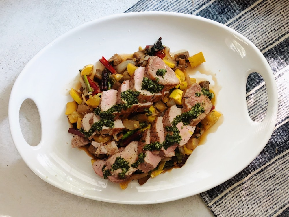 Seared Pork, Roasted Vegetables & Basil Dressing