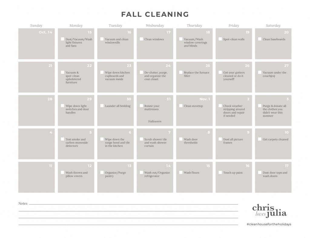 Chris Loves Julia Holiday Prep Cleaning Calendar