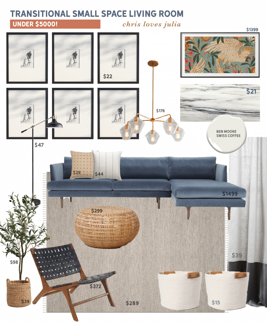 Mood Board Monday: A Transitional Small Space Living Room Under