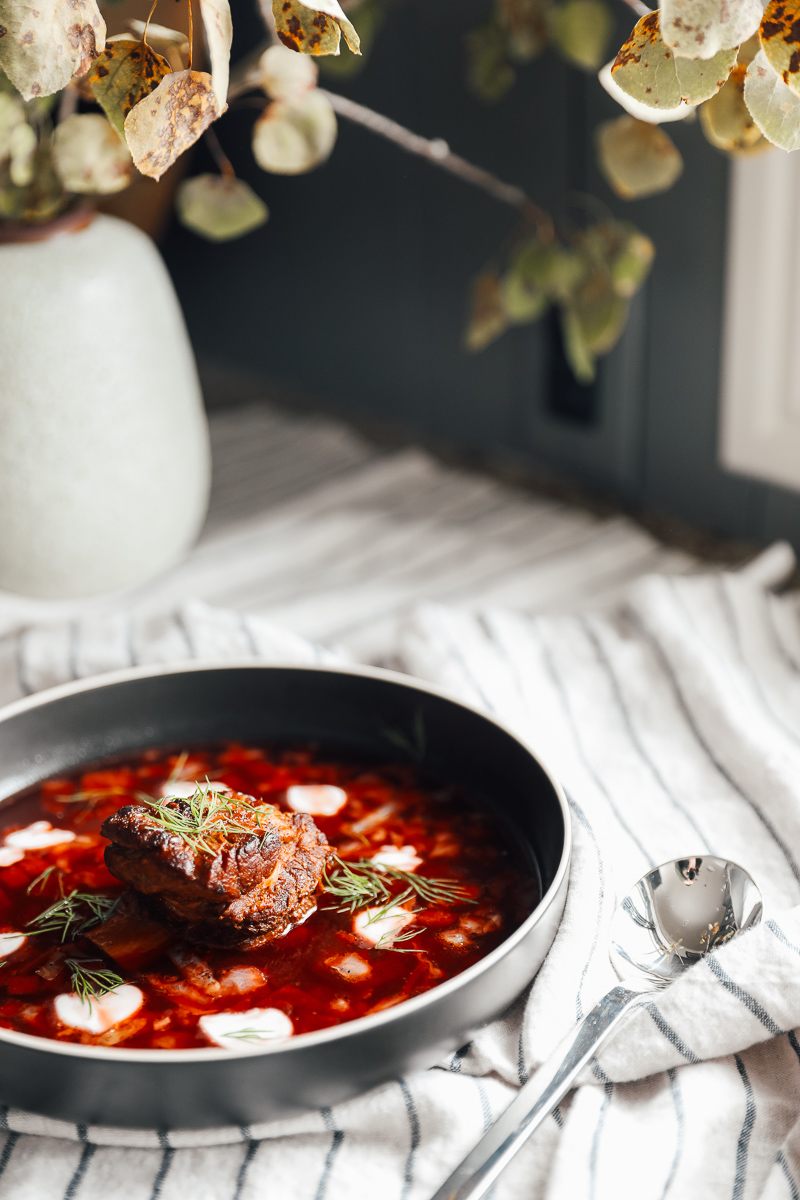 Borscht with Braised Beef Short Ribs