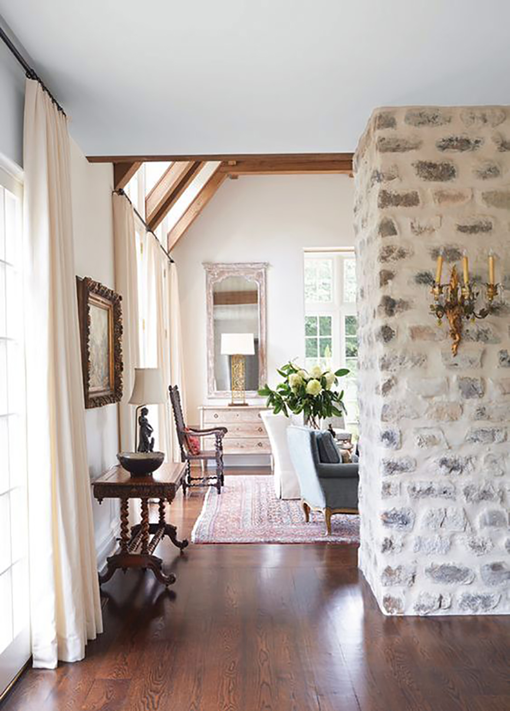 Over Grouted Stone Fireplace