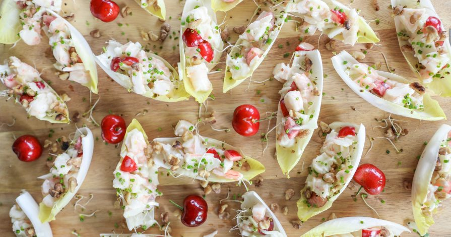 Shrimp Salad Endive Cups with Fresh Cherries