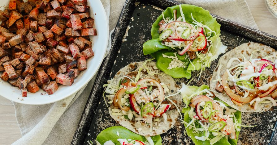 Grilled Steak Tacos with Pickled Radish & Onions